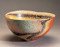 Gail Nichols teabowl after a soda firing. Beautiful!