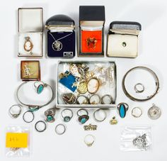 """Lot 283: Gold, Sterling Silver and Costume Jewelry Assortment; Including 14k scrap gold (some marked), a marked """"10k"""" gold, tourmaline and diamond chip ring and sterling silver including (4) necklaces, (6) charms / pendants, (2) bracelets and (12) rings; some marked """"925"""" or """"sterling""""; as well as costume jewelry including rings, necklaces, charms and tie tacks"""