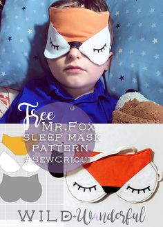 Free Mr. Fox Sleep Mask Pattern. Easy directions, a PDF pattern download, and a link to the Cricut Maker Files in DesignSpace! #sewcricut