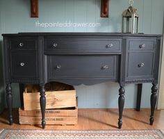 A review of General Finishes Chalk Style Paint and a classic vintage dresser in lovely, deep gray/black.
