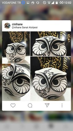 Pottery Painting, Ceramic Painting, Stone Painting, Dremel Wood Carving, Clay Birds, Owl Cartoon, Zentangle, Hand Built Pottery, Ceramic Owl