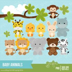 BABY ANIMALS zoo Digital Clipart, Digital Clipart Animals  / Instant Download