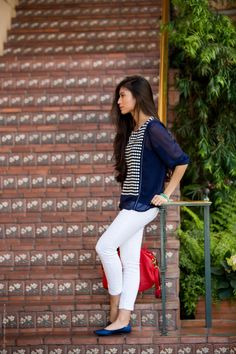 A Stylish Blue And White Polka Dot Spring Outfit