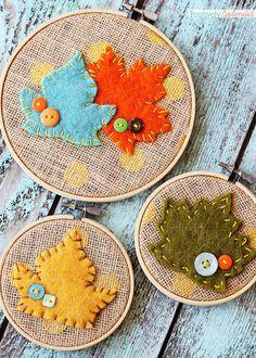 How to make leaf embroidery hoop art