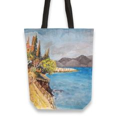 A walk in the village Totebag by Florian Ivan ( from Thing 1, Canvas Tote Bags, Hand Sewing, Reusable Tote Bags, Walking, Feelings, Prints, Cotton, Stuff To Buy
