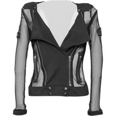 A hot and sexy fishnet jacket for women, from the Queen of Darkness goth clothing brand, with laid on zip detailing.
