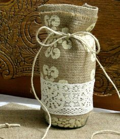 Burlap wedding centerpiece French Country wedding by Bannerbanquet, $16.50