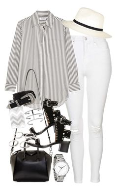 """Outfit with white jeans and a striped shirt"" by ferned on Polyvore featuring Topshop, Equipment, River Island, Givenchy, Isabel Marant, Lauren Klassen, Casetify, Jennifer Fisher and ASOS"