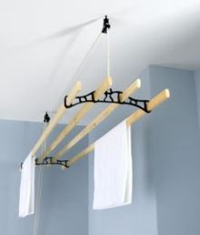 ceiling clothes line...for laundry room...make it yourself!
