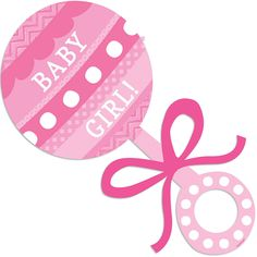 The Baby Girl Rattle Cutout is a sweet way to decorate for your baby shower. This plastic baby rattle cutout is pink and reads 'Baby Girl! Dibujos Baby Shower, Imprimibles Baby Shower, Moldes Para Baby Shower, Baby Girl Clipart, Baby Frame, Baby Shawer, Topper, Baby Album, Kids Party Supplies