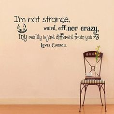large wall vinyl decal quote sticker home decor art mural im not strange