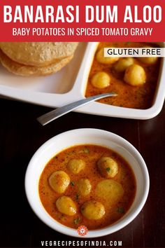 Banarasi Dum Aloo Recipe with step by step photos. Banarasi Dum Aloo is a no onion no garlic recipe of baby potatoes in a tomato-based curry. Veg Recipes Of India, North Indian Recipes, South Indian Food, Indian Food Recipes, Indian Vegetarian Dishes, Vegetarian Breakfast Recipes, Paneer Recipes, Garlic Recipes, Veggie Snacks