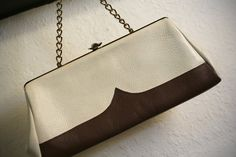 Cream and Brown Leather Purse