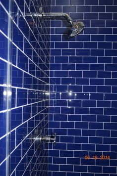 Cobalt blue glass tile for walk in shower