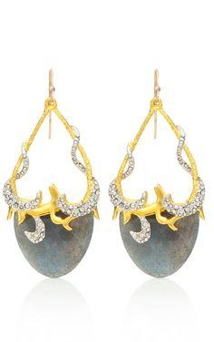 Alexis Bittar Siyabona Gold Labradorite Tear Earrings