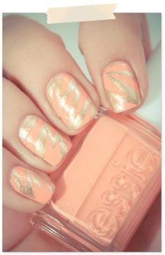 Peach and gold nail polish art