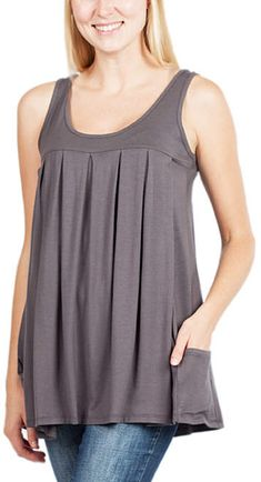 2140c6bba210e Charcoal Pleated Pocket Maternity/Nursing Swing Tank #affiliate Nursing  Tunic, Maternity Nursing,