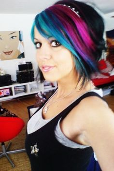 Black bob with blue, purple and pink layers.