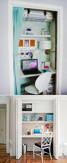 Adoro esa idea del estudio en el closet ;OD