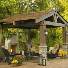 The Lodge - This pergola has the natural, classic look of turn of the century lodges in the mountains of New England with it's split timber ...