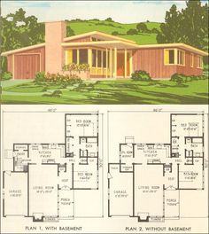 Mid Century Modern House Plan No. 5305 - 1954 National Plan Service - Retro American Residential Architecture