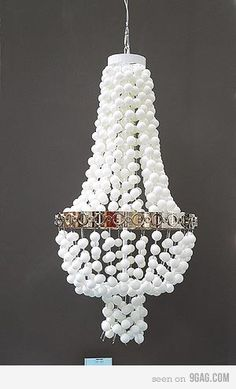 Saw a chandelier simular to this, it was strung with white christmas lights in the balls, with larger balls alternated where the silver ring is on this one, I am so going to make it! Ping Pong Lights, Conservatory Playroom, Chandelier Fan, Chandeliers, White Christmas Lights, Diy Light Fixtures, Twinkle Twinkle Little Star, Decor Crafts, Home Decor