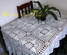 Crochê da Flor: Toalha de mesa retangular em crochê