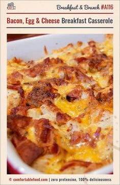 Bacon, Egg and Cheese Breakfast Casserole & Video - Comfortable Food Bacon Egg And Cheese Casserole, Bacon Egg Bake, Breakfast Casserole With Bread, Overnight Breakfast Casserole, Bacon And Egg Casserole, Sausage Breakfast, Breakfast Dishes, Casserole Recipes, Breakfast Recipes