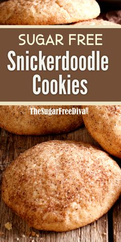 Snickerdoodle cookies are a favorite cookie to bake and enjoy during the holiday baking season. Enjoy this yummy cookie Sugar Free Cookies, Sugar Free Desserts, Sugar Free Recipes, Yummy Cookies, Cookie Recipes, Dessert Recipes, Drink Recipes, Ginger Cookies, Flour Recipes