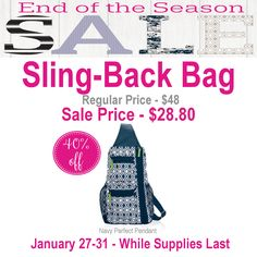 Thirty-One Sling-Back Bag is 40% off during End of the Season Sale