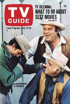 "TV Guide: July 22, 1967 - The Cartwrights of ""Bonanza"" - Michael Landon as ""Little Joe,"" Dan Blocker as ""Hoss"" and Lorne Greene as ""Ben Cartwright"""