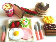 Felt food   Happy  Breakfast  set by TomomoHandmade on Etsy, $58.00