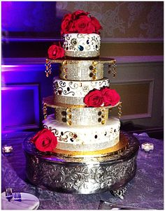 Beautiful bejeweled Indian wedding cake -- piped and hand painted scroll work www.annacakes.com