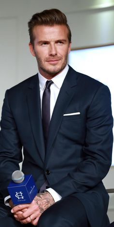 men's fashion/// DavidBeckham looking #dapper in a RalphLauren suit l #mens #fashion