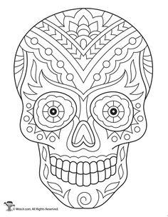 Sugar Skull Skeleton Adult Coloring Page Skull Coloring Pages, Free Adult Coloring Pages, Free Printable Coloring Pages, Mandala Coloring, Coloring Books, Fairy Coloring, Kids Coloring, Colouring, Sugar Skull Painting