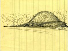 Sketch of David S. Ingalls Hockey Rink, Yale University, New Haven, Connecticut, c. 1953. Courtesy Eero Saarinen Collection. Manuscripts and Archives, Yale University.