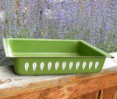 Cathrineholm Casserole Pan Lotus Pattern Vintage 1960s Olive / Avocado Green Metal Enamelware Lasagne / Cake Baking Pan Made in Norway Retro...