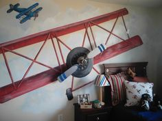 Little Pilot/Anita Roll Murals, Very fun boys room where a ceiling fan was mounted on the wall for the propeller of the plane!, Boys room I painted that has a 3D effect with the ceiling fan as the propeller., Boys' Rooms Design