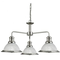Searchlight Bistro 3 Light Ceiling Pendant Light, Satin Silver Finish With Acid Glass Shades - - Ceiling Lights - 2 And 3 Arm Ceiling Lights Chandelier, Candle Style Chandelier, Sand Curtains, Glass Shades, Classic Chandeliers, Ceiling Pendant Lights, Chandelier Shades, Ceiling Lights, Silver Pendant Lighting