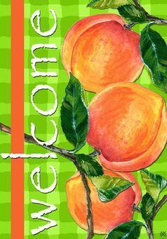 Custom Decor Flag - Welcome Peach Decorative Flag at Garden House Flags