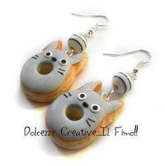 Boucles d'oreilles Doughnut - Donut - Totoro - Cartoon - Kawai : Boucles d'oreille par dolcezzecreative