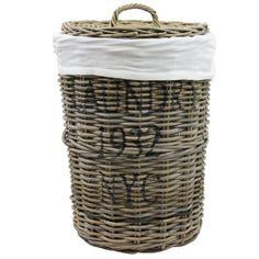 Wäschebox Wäschetruhe Wäschekorb Wäschesortierer Wäschekiste Wäschesammler Wäschetonne Truhe Kiste Aufbewahrungsbox Ø40x60cm mit Deckel in Rattan
