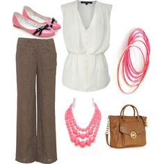 Clothes for the new job. I'll get one soon. I'd like skinny trousers and heels. Love the bag!