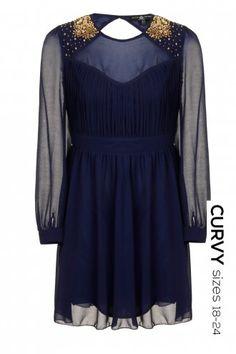 Curvy Navy Embellished Shoulder Long Sleeve Dress