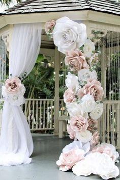 wedding decor trends bridal arch decorated with pink paper flowers vaniya_gol via instagram
