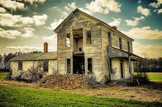 A chimney has crumbled on this lonely, abandoned farmhouse in North Carolina. The house itself can't be too far behind.