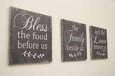 Bless The Food Before Us Wood Wall Hanging Dining Room Decor - March 02 2019 at Shabby Chic Living Room, Shabby Chic Kitchen, Shabby Chic Decor, Vintage Decor, Handmade Wedding Gifts, Handmade Home Decor, Diy Home Decor, Decor Crafts, Dining Room Walls