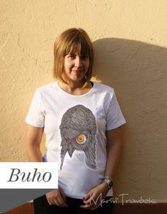 SALEtshirt dipinta a mano/Gufo   tshirt pintada di MariviTrombeta, $20,00