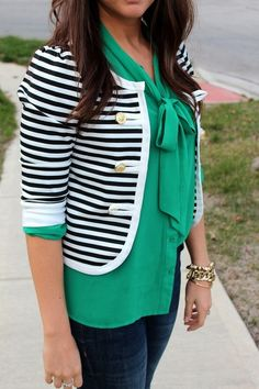 emerald silk top, cropped nautical jacket. polished look.