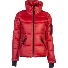 SAM Freestyle Down Jacket ($177) ❤ liked on Polyvore featuring outerwear, jackets, red puffer coat, stand up collar jacket, pocket jacket, down jacket and snap jacket
